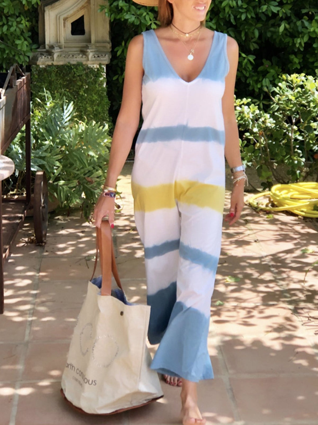 Multicolor Stripe Print V Neck Wide-Legged Sleeveless Jumpsuits