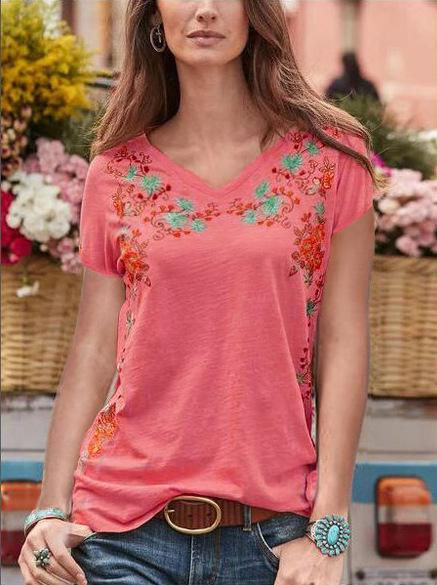 V Neck Floral Embroidery Short Sleeve T-Shirt