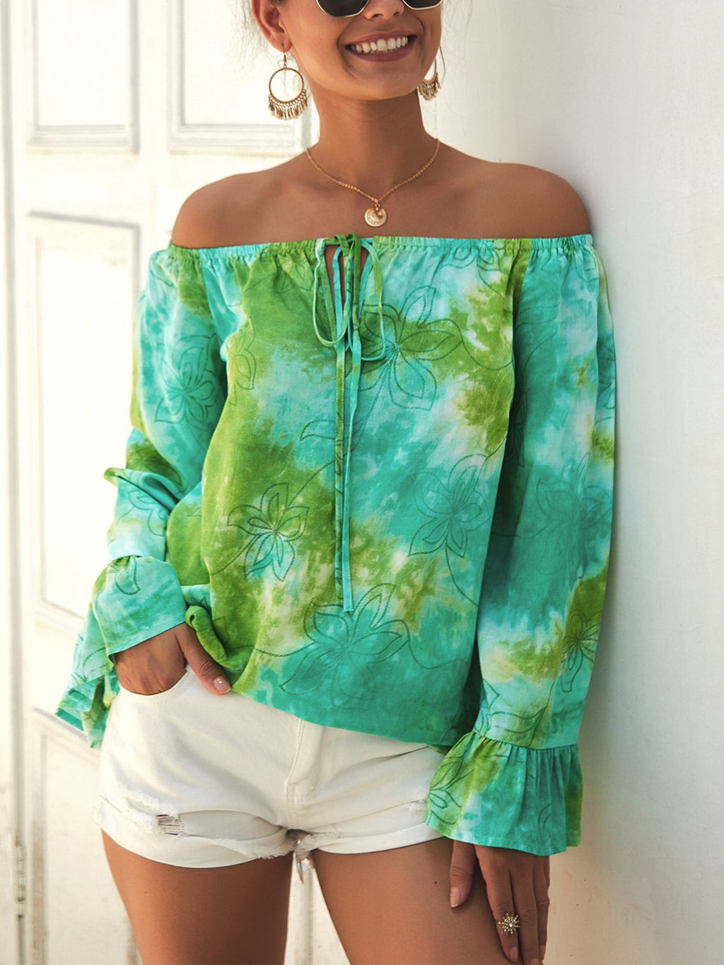 Summer Camouflage Print Off-Shoulder Long-Sleeved Ruffle Cuff Blouse