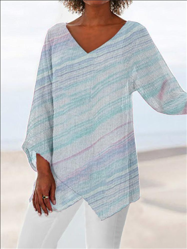 Multicolor Striped Print V Neck Asymmetric Hem Pullover Blouse