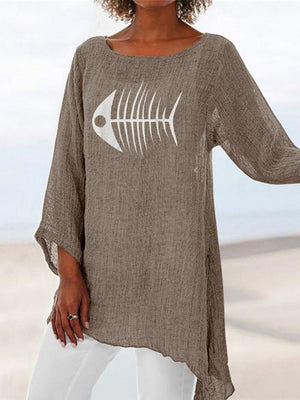 Plus Size Fishbone Print Crop-Sleeved Asymmetric Hem Blouse