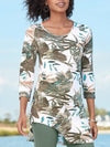 Summer Leaf Print 3/4 Sleeve Asymmetric Hem Fit T-Shirt