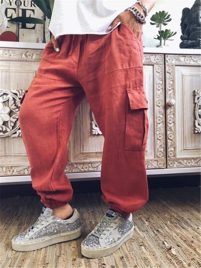 Solid Color Upright Flap Pocket Casual Pants