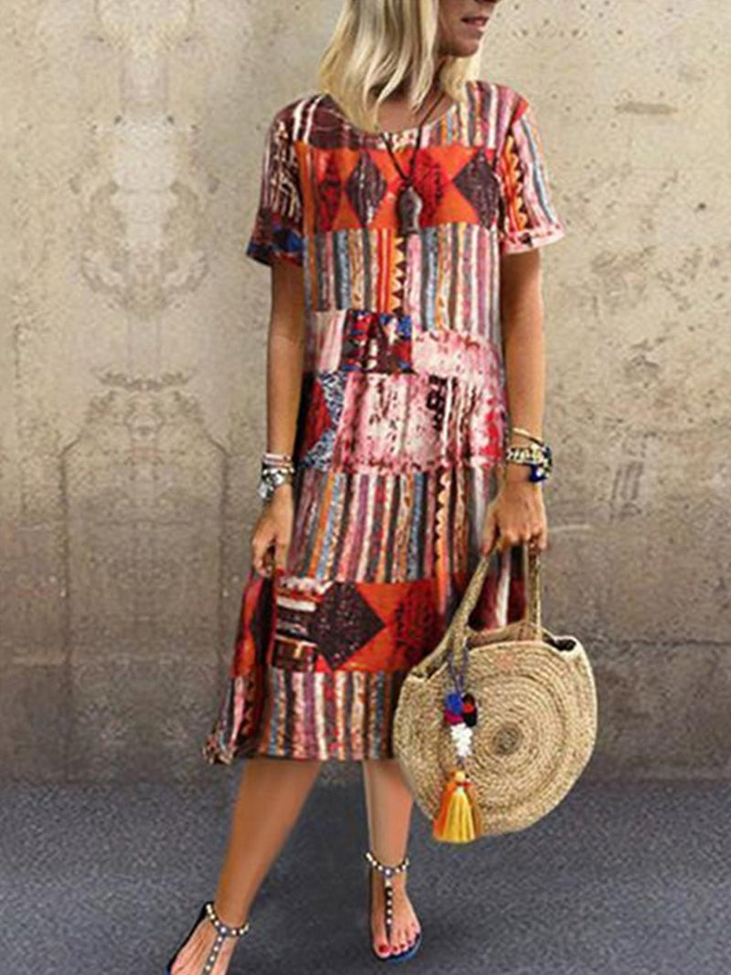Vintage Print Midi Length Short-Sleeved A-Line Dress