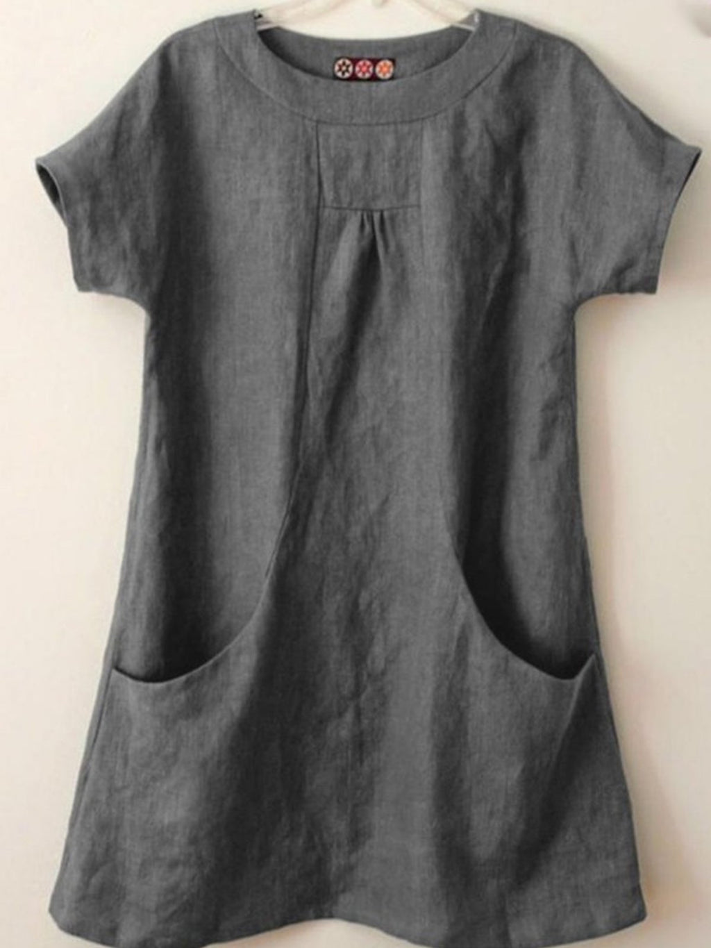 Short Sleeve Pocket Casual A-Line Linen/Cotton Blouse