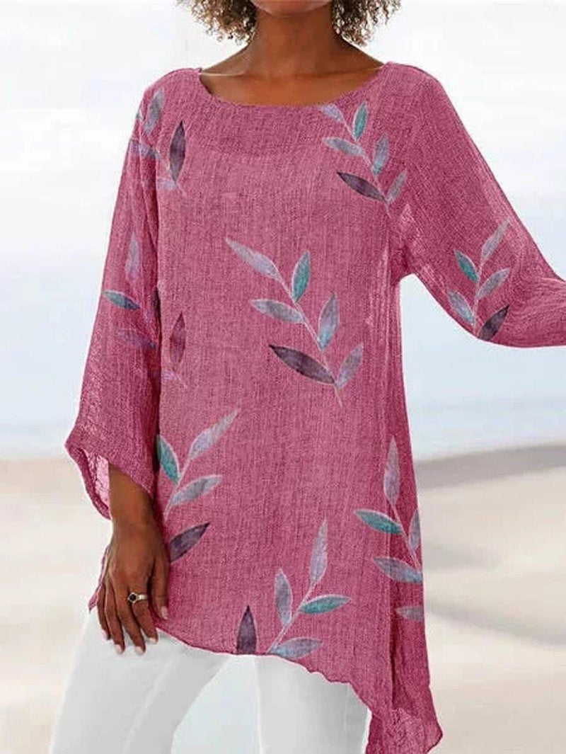 Plus Size 3/4 Sleeve Round Neck Leaf Print Asymmetric Hem Blouse