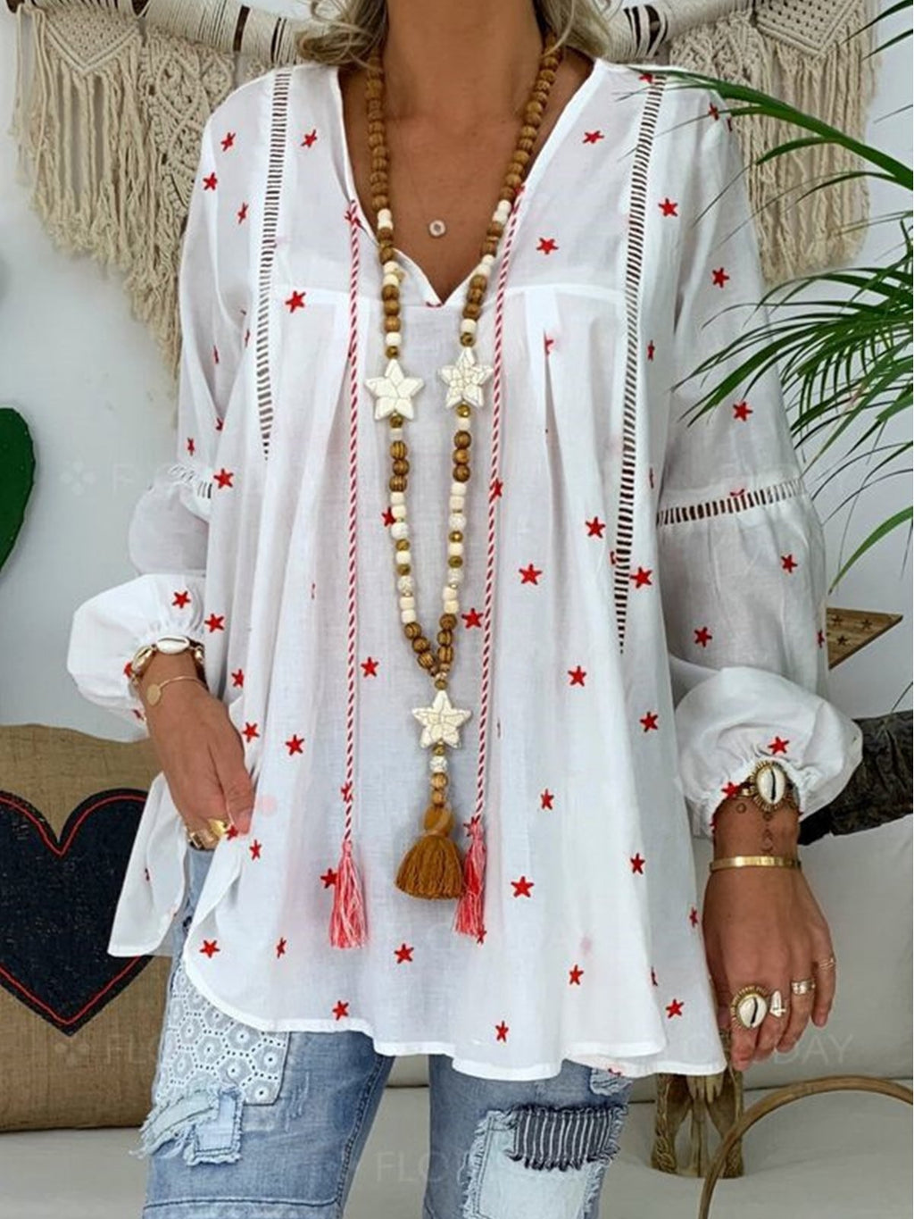 Tiny Star Print Hollow Splice Long-Sleeved Blouse
