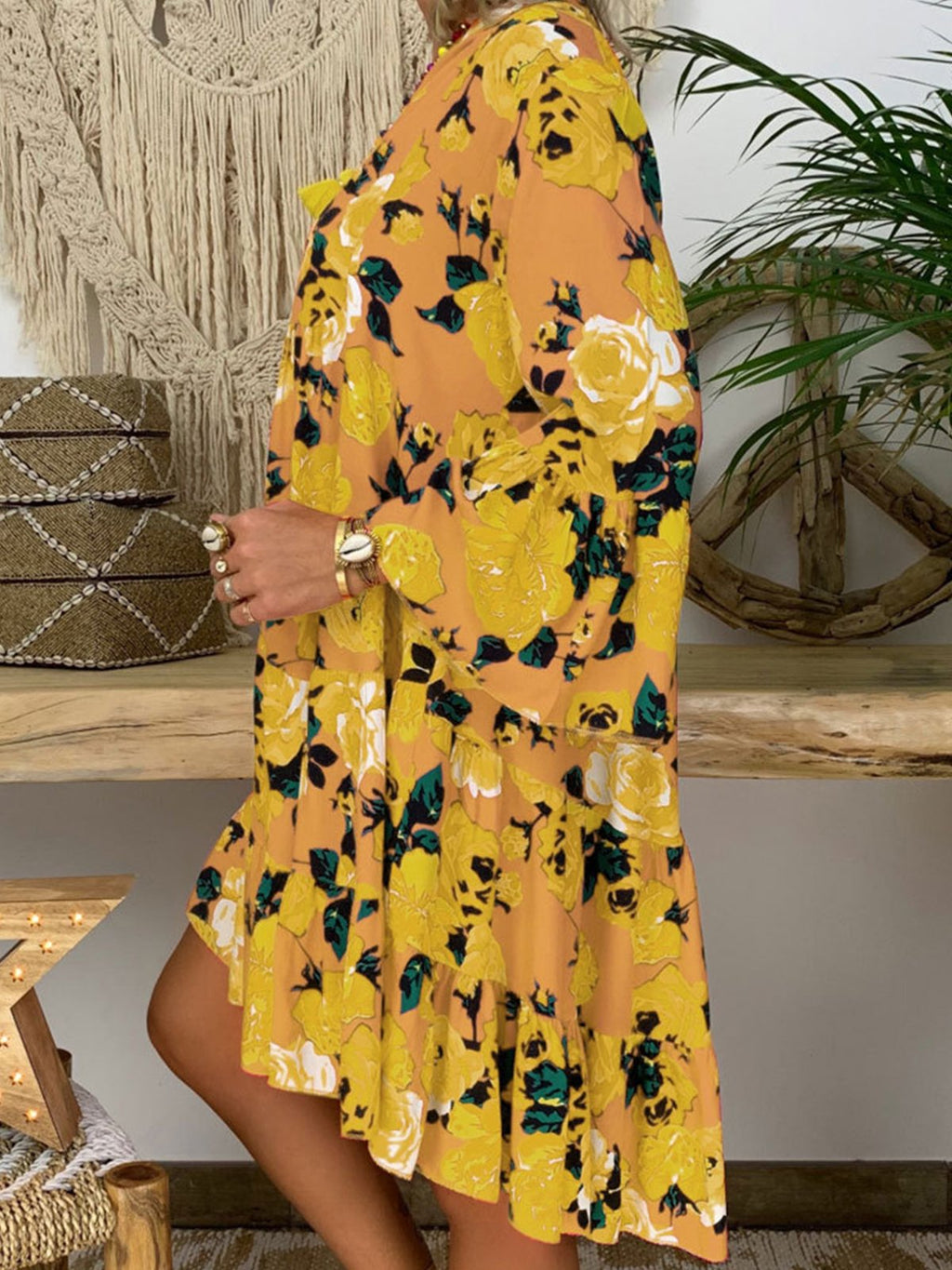 Floral Print Buttoned Stand Collar V Neck Long-Sleeve Swing Shift Dress