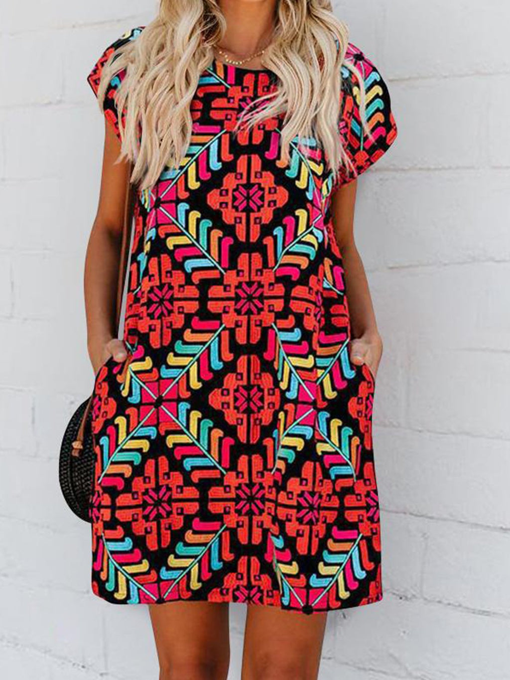 Red Geometric Print Short Sleeve Round Neck A-Line Dress