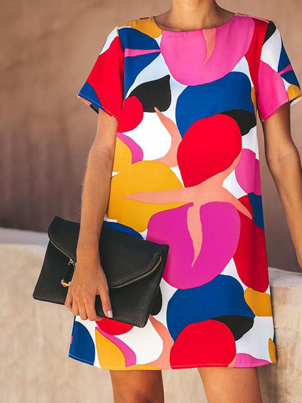 Bright Multicolor Geometric Print Round Neck Midi Short-Sleeved Dress