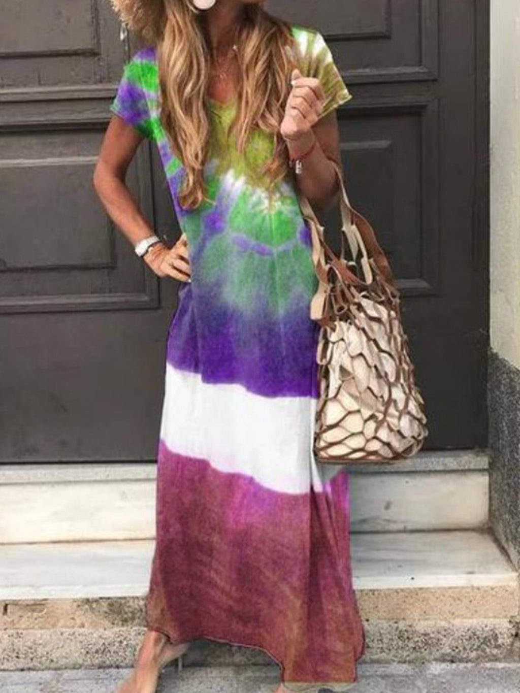 Multicolor Short-Sleeved Shift Maxi Dress