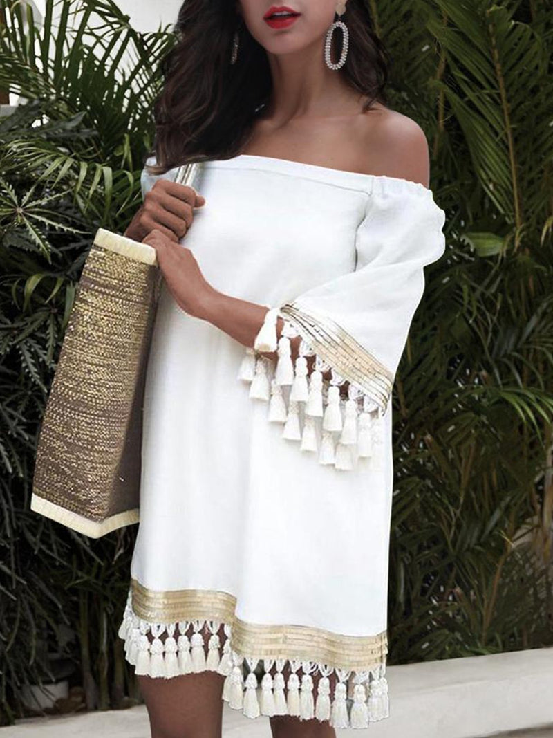 One-Shoulder Flare Sleeve Bohemian Tassel Splicing Dress