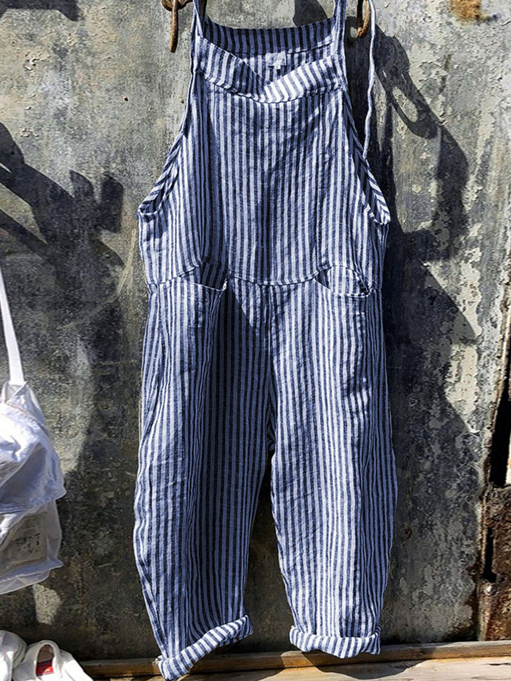Pin Stripe Print Lace-Up Suspender Wide-Legged Full-Length Jumpsuits