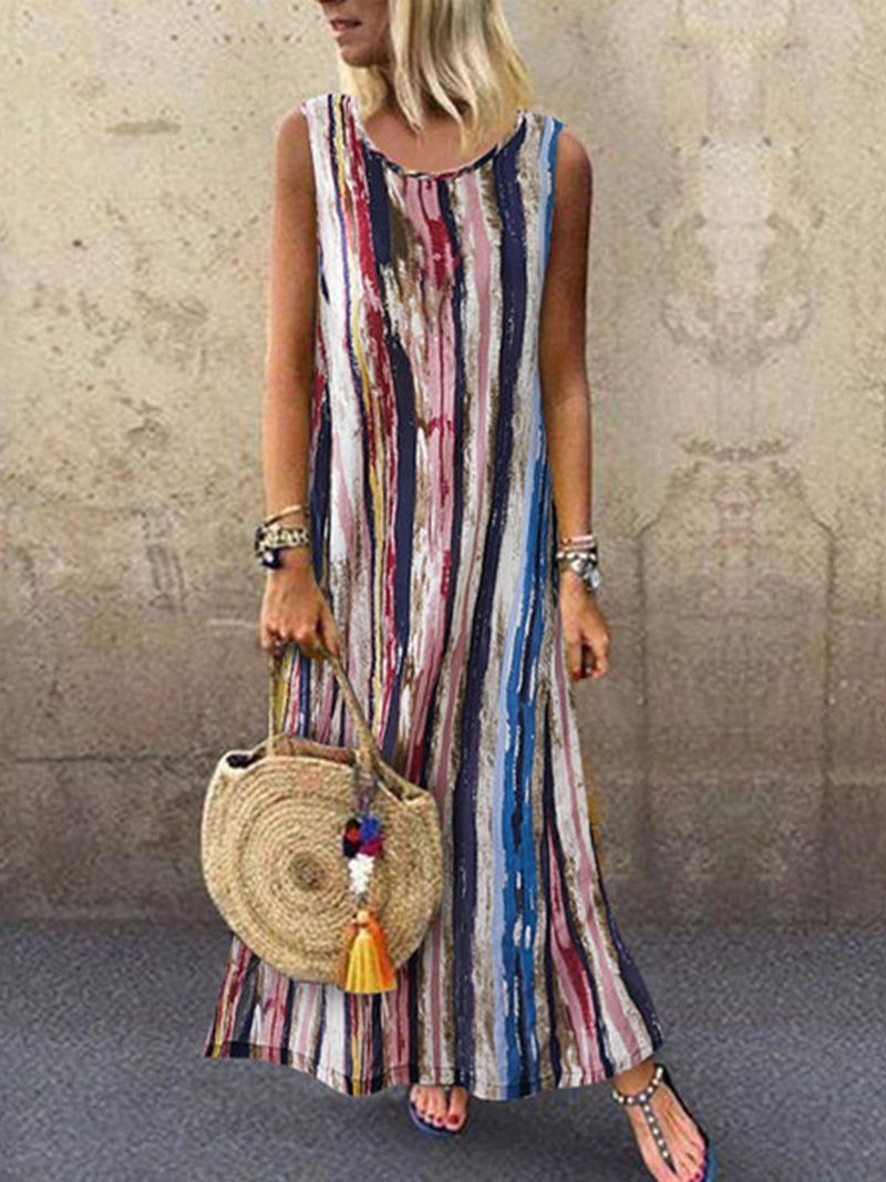 Summer Multicolor Print Round Neck Sleeveless A-Line Dress