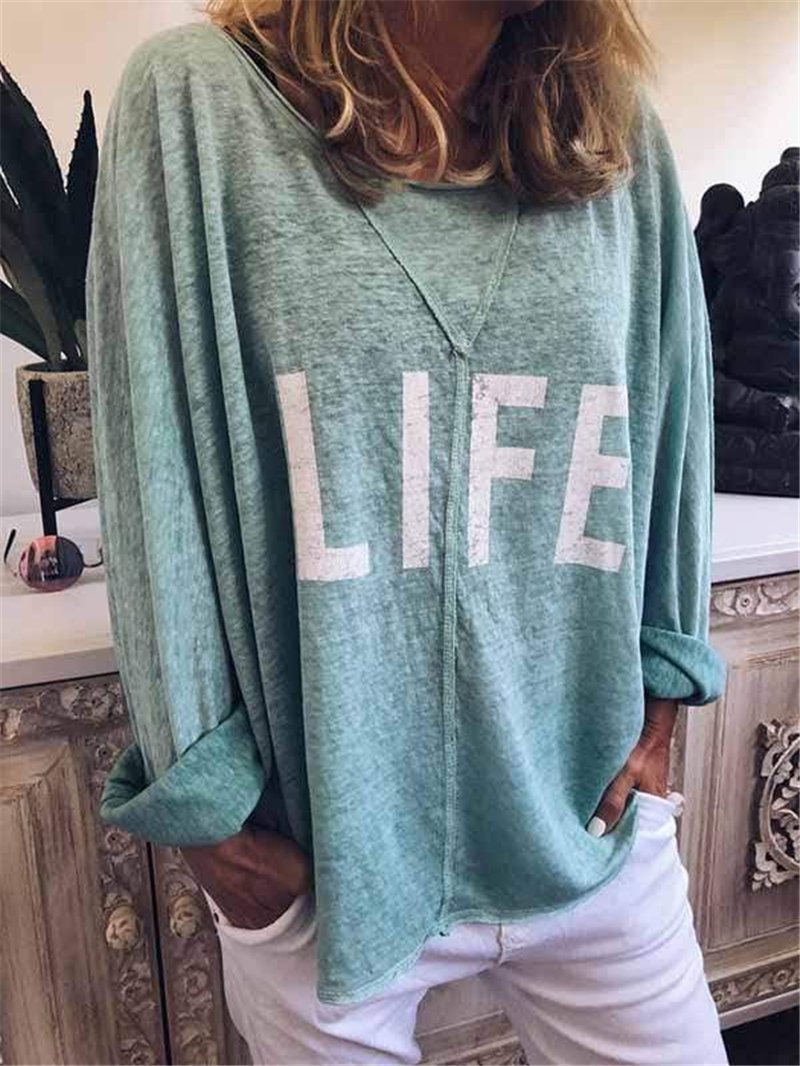Plus Size Life Letter Print Loose Round Neck T-Shirt
