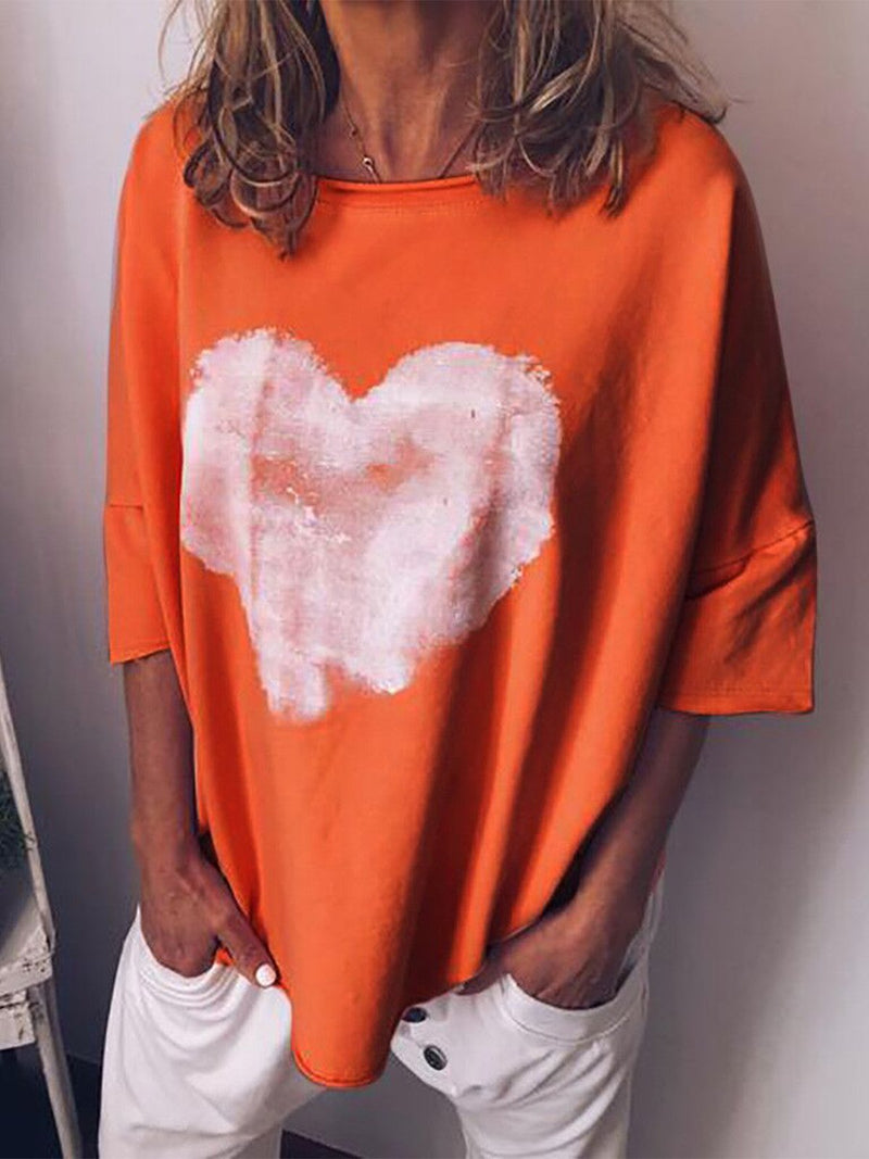 Plus Size Heart Print Casual Loose T-Shirt