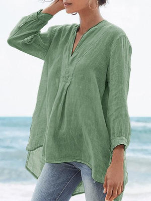 Plus Size Light-Weight Crop-Sleeved Asymmetric Blouse