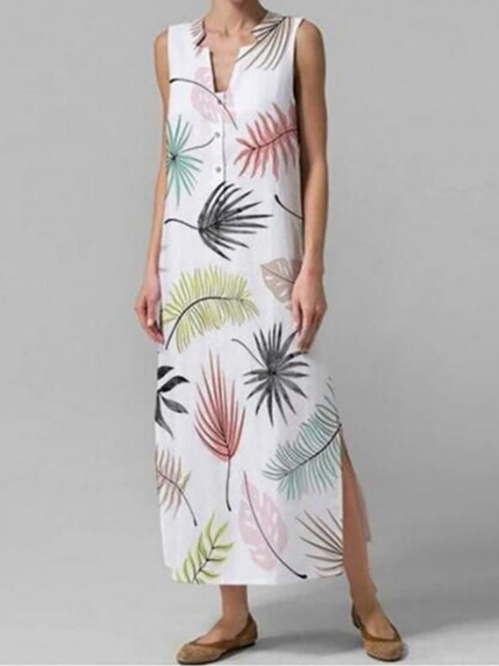 Multicolor Leaf Print V Neck Shift Slit Dress