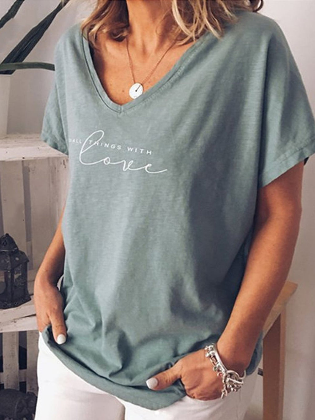 Plus Size Letter Print V Neck Short-Sleeved Loose T-Shirt