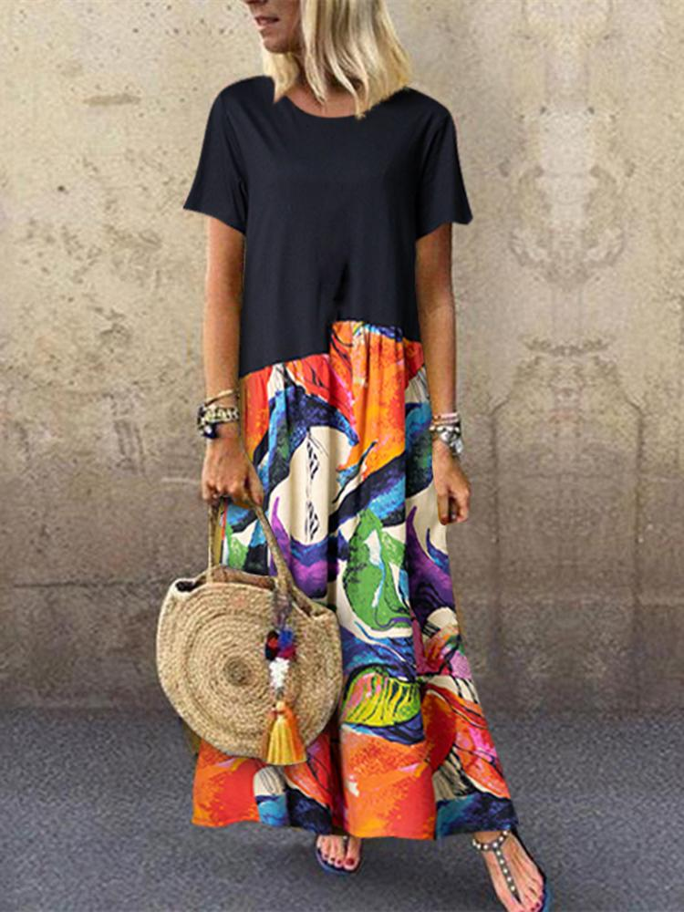 Summer Abstract Paint Print Splice Short Sleeve A-Line Dress