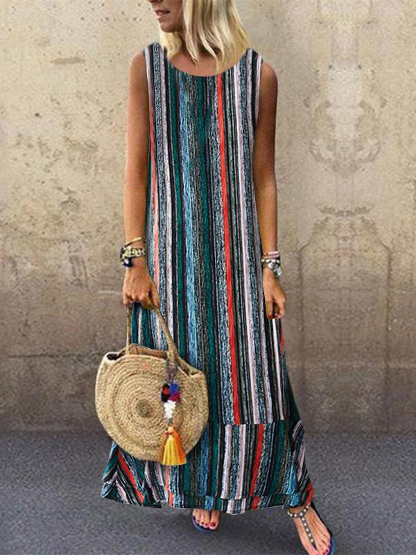 Multicolor Stripe Print Round Neck Sleeveless Midi Dress