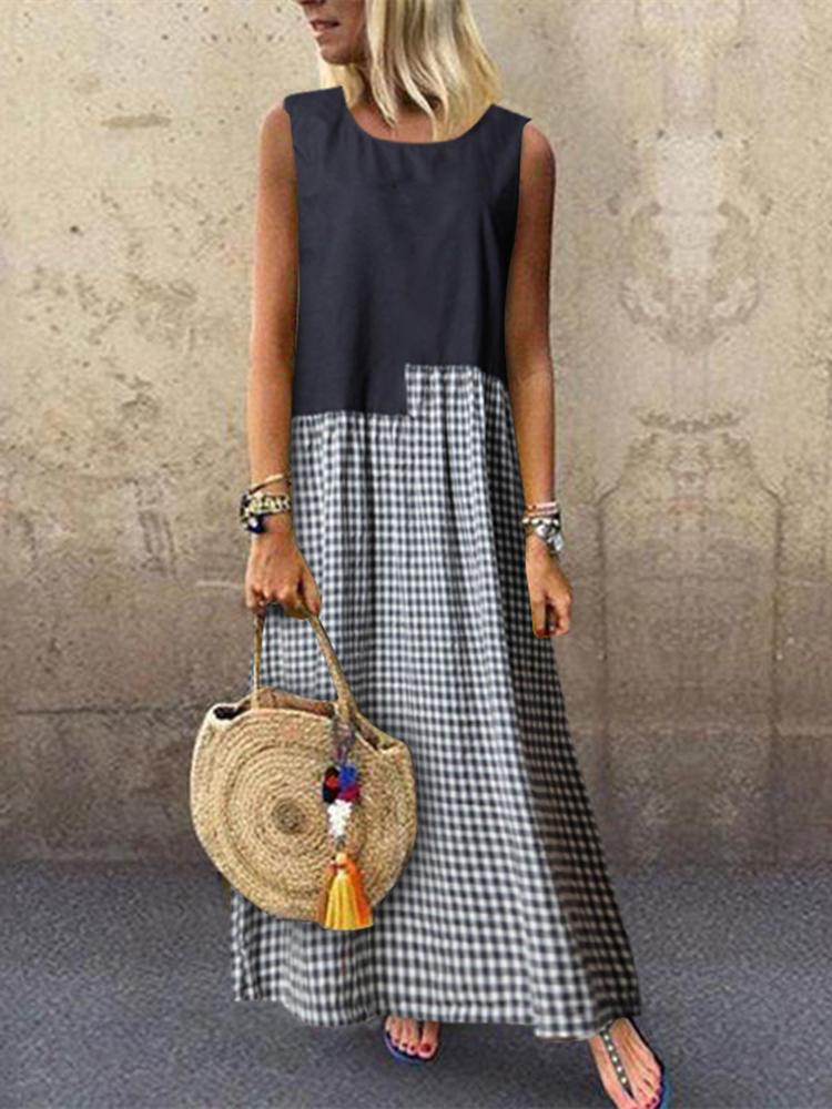 Summer Gingham Pring Splice Sleeveless Round Neck A-Line Linen/Cotton Dress