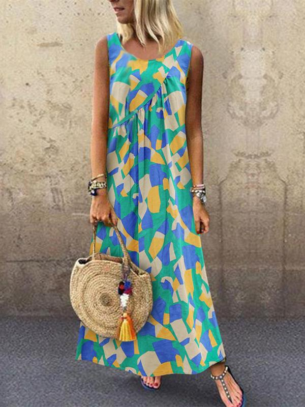 Multicolor Geometric Print Round Neck Sleeveless Midi Dress