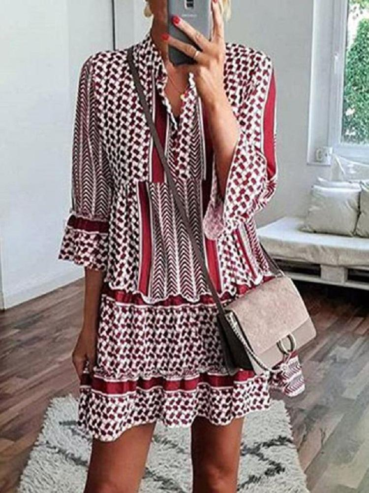 Print Splice Shirt Collar Ruffle 3/4 Sleeve A-Line Mini Dress