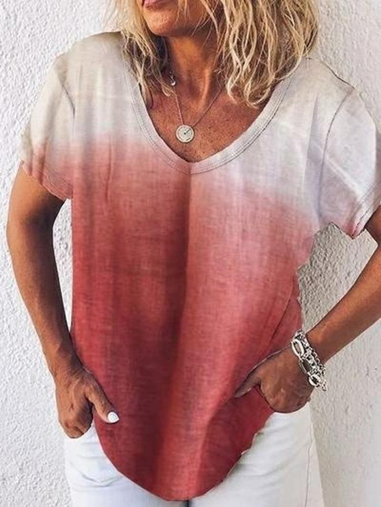 Plus Size Gradient V Neck Loose Summer T-Shirt