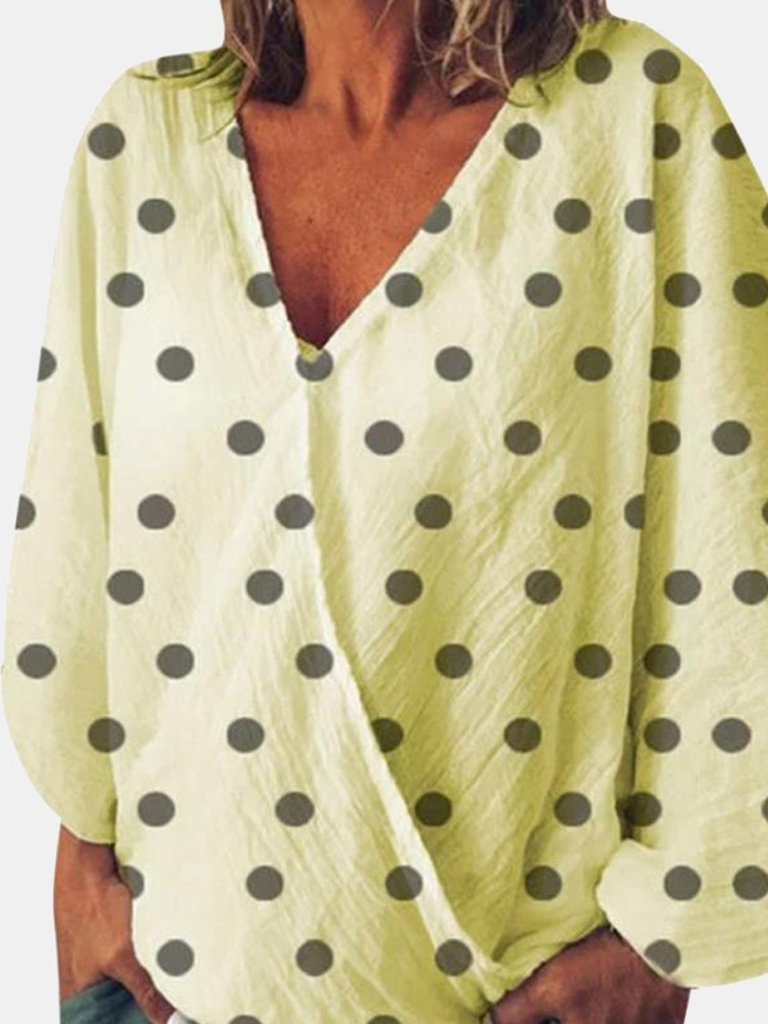 Polka Dot Print Syrplice Flare Sleeve Long-Sleeved Blouse