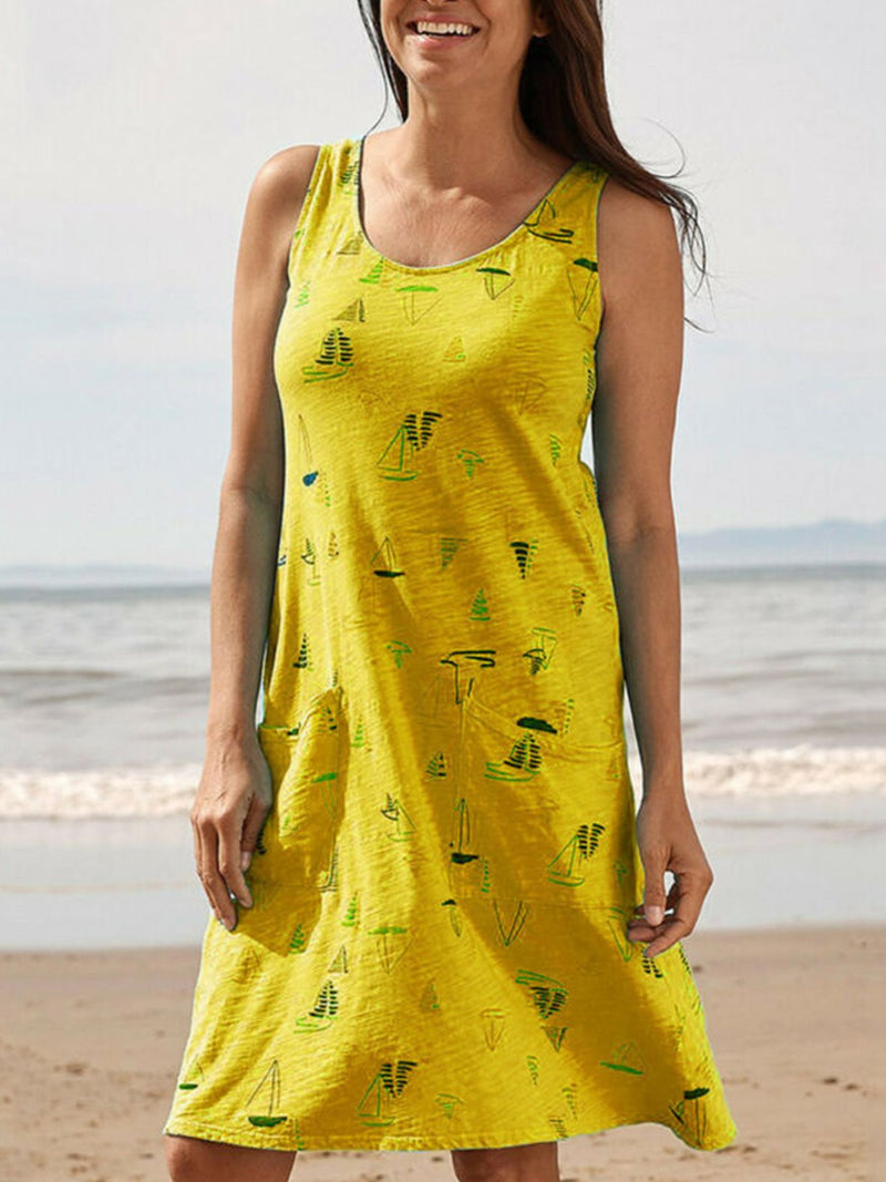 Cute Boat Print Round Neck Sleeveless Pocket A-Line Dress