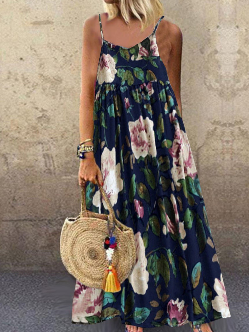 Plus Size Floral Print Maxi Length Sling Swing Dress