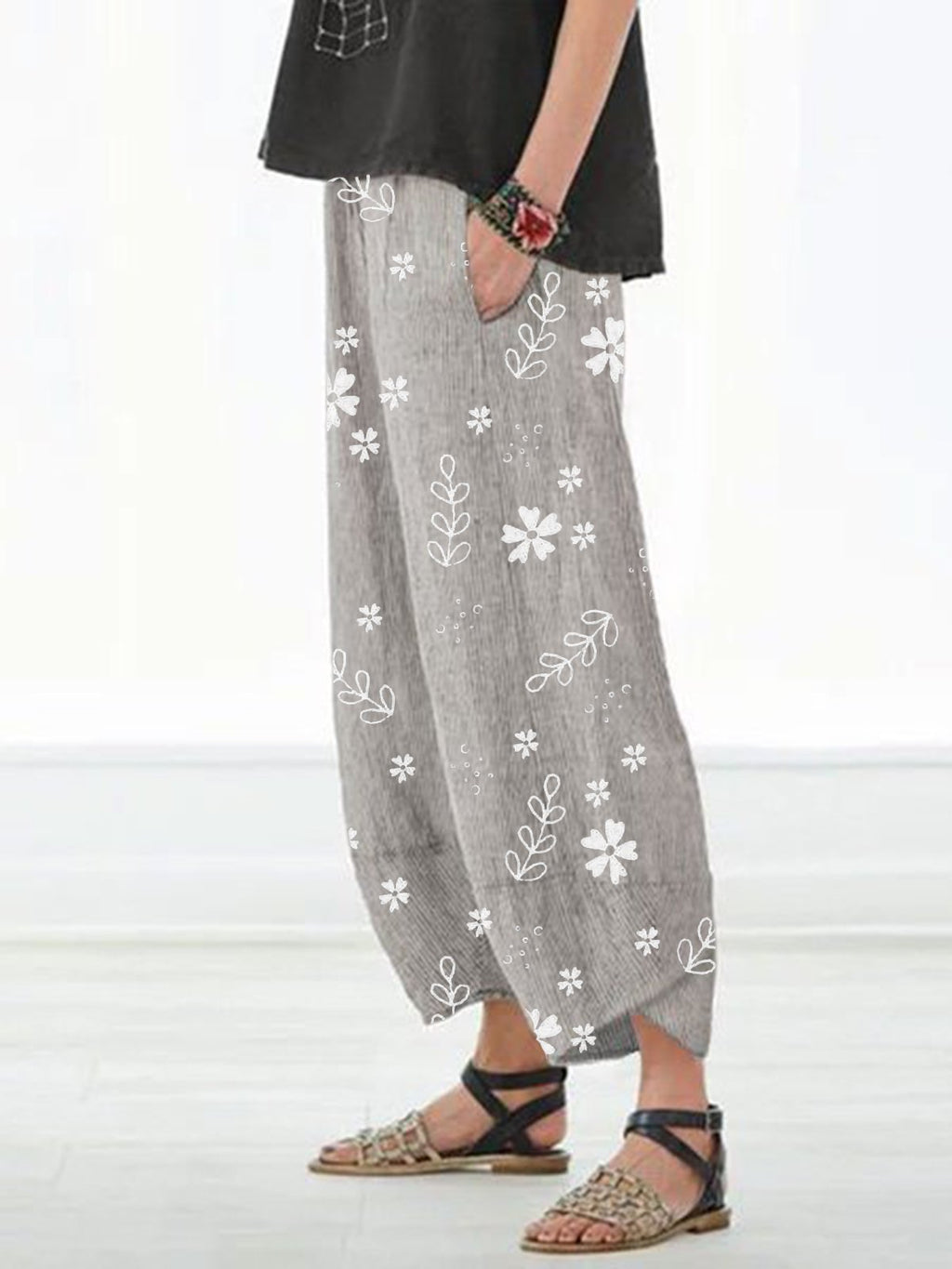 Plus Size Tiny Flower Print With Pocket Shift Pants