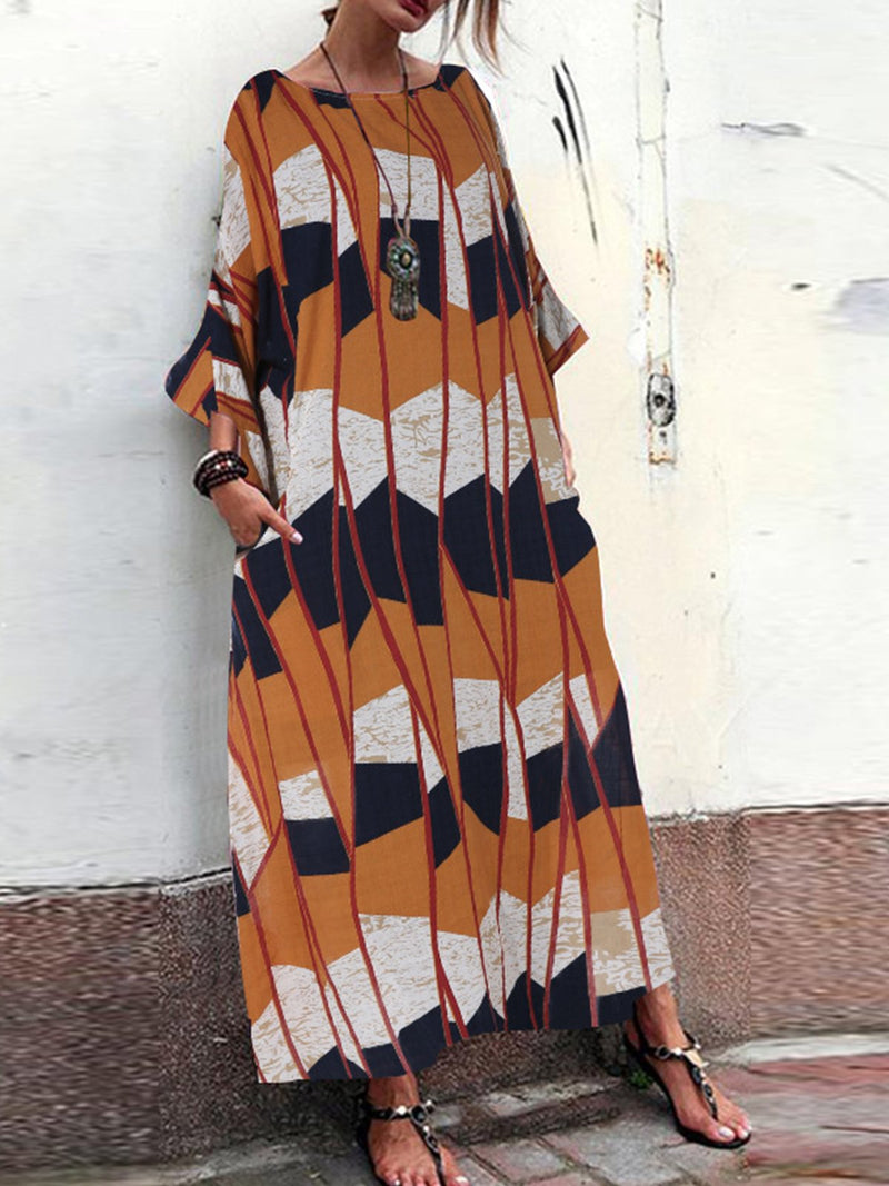 Plus Size Multicolor Print Loose 3/4 Sleeve Pocket Midi Dress