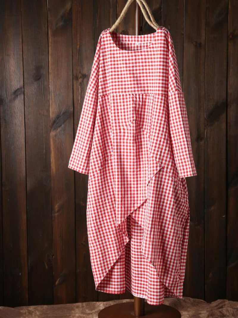 Plus Size Gingham Print Round Neck Surplice Long-Sleeved Casual Dress