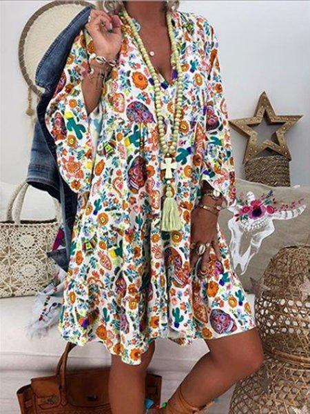 Plus Size Multicolor Print V Nck Swing Casual Crop Sleeve Midi Dress