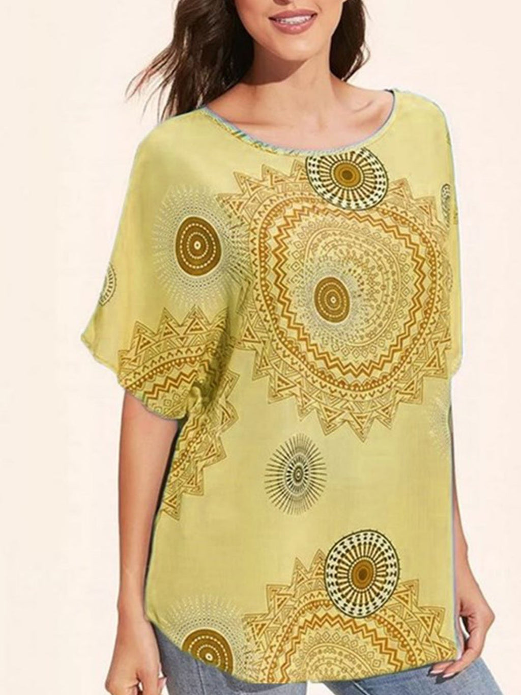 Plus Size Gear Print Round Neck Short-Sleeved Casual T-Shirt