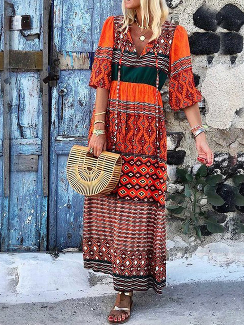 Boho Style Half-Sleeved V Neck Printed A-Line Dress
