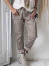 Plus Size Women Cotton-Blend With Pocket Draw-String Pants