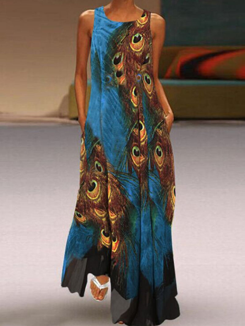 Peacock Feather Print Round Neck Sidekick Sleeveless Swing Maxi Dress
