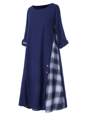 Vintage Round Neck 3/4 Sleeve Splice Checker Buttoned Midi Dress