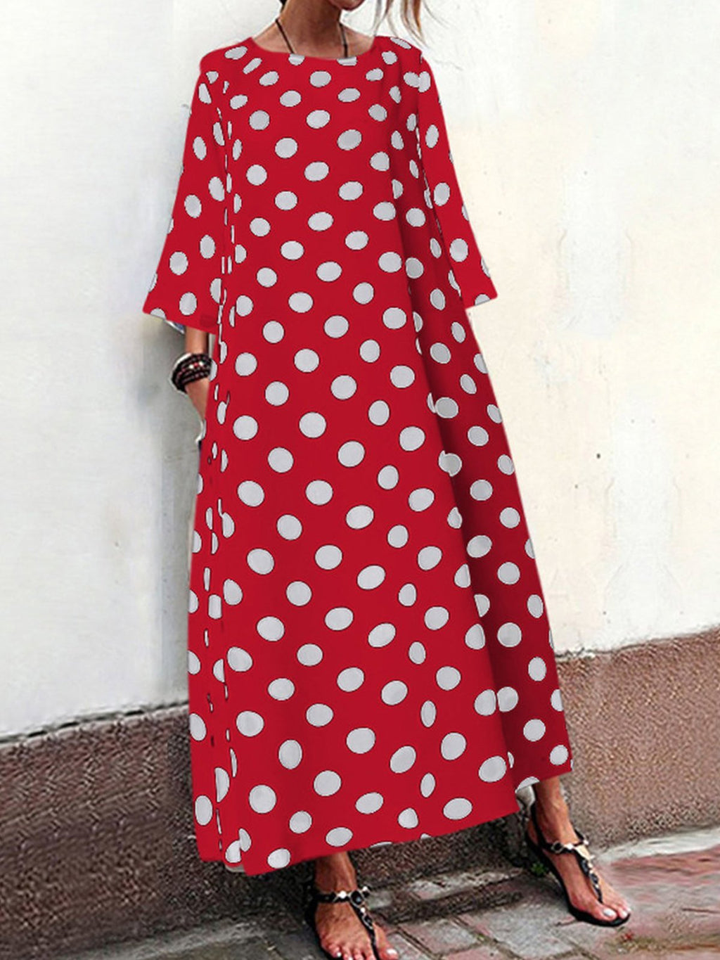 Plus Size Polka Dot Print Round Neck 3/4 Sleeve Pocket Vintage Dress