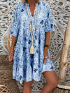 Plus Size Summer Floral Print V Neck Ruffle Flare Sleeve Swing Hem Dress