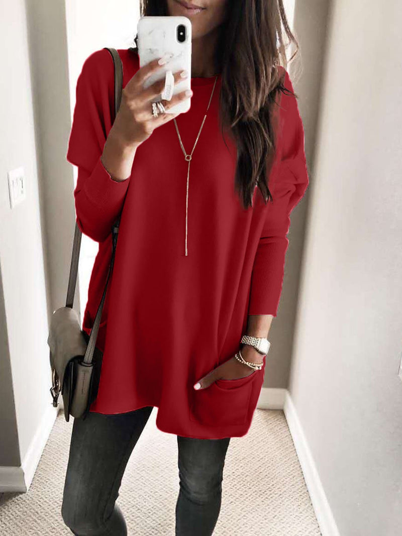 Long-Sleeve Sidekick Pocket Loose Lengthen Fluffy T-Shirt Dress