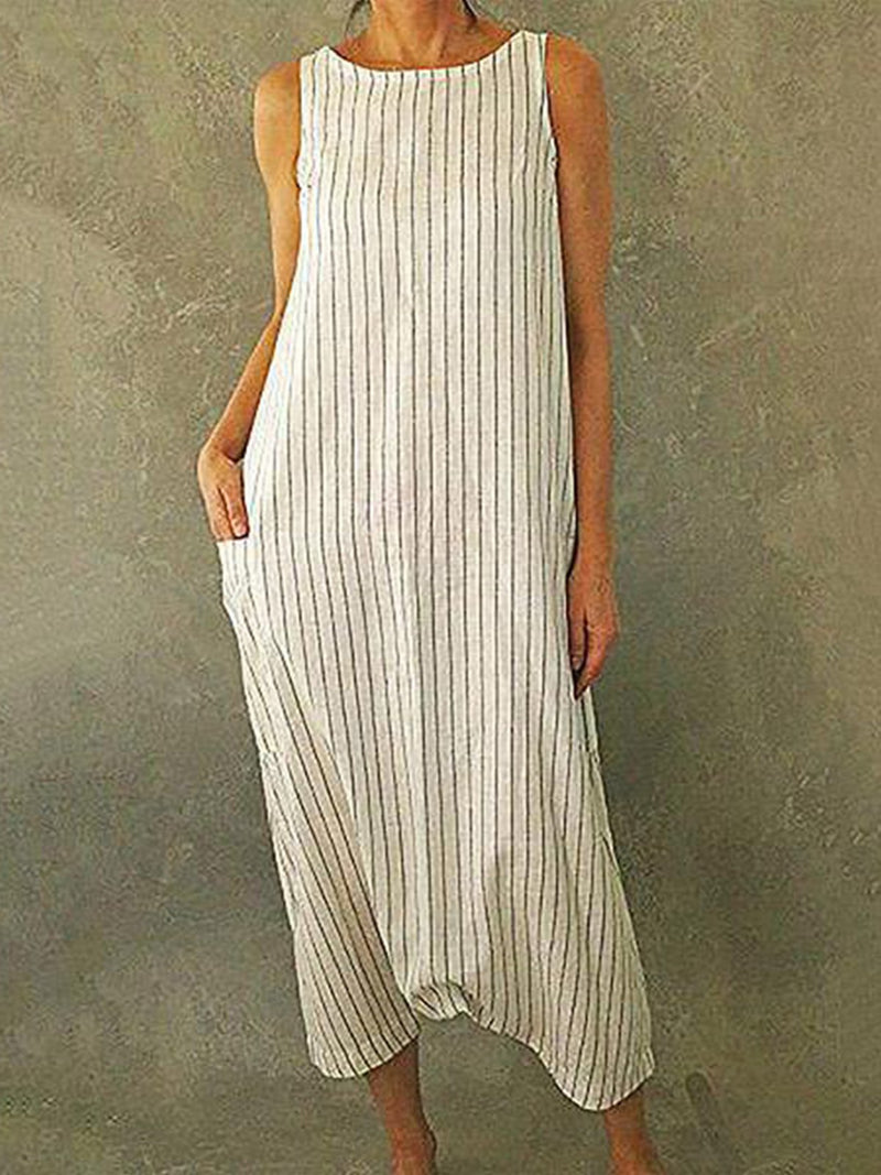 Summer Round Neck With Pocket Mid-Calf Shift Stripe Print Dress