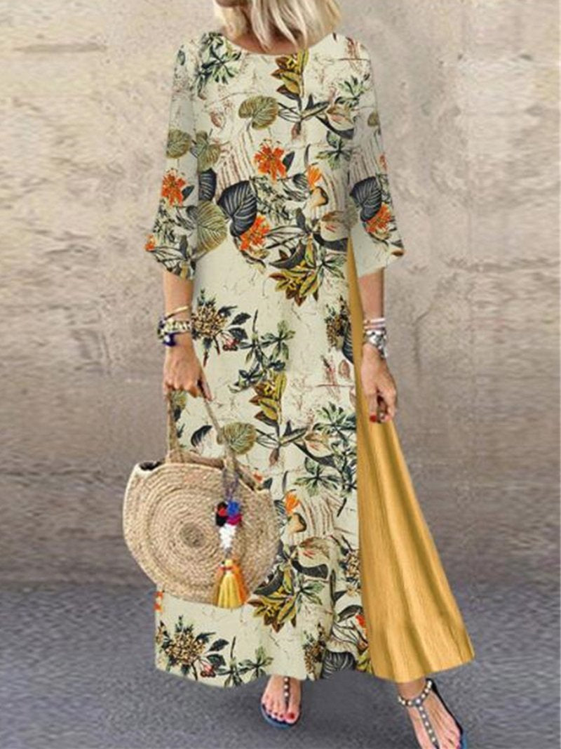 Plus Size Vintage Floral Print Round Neck Splice Maxi Dress