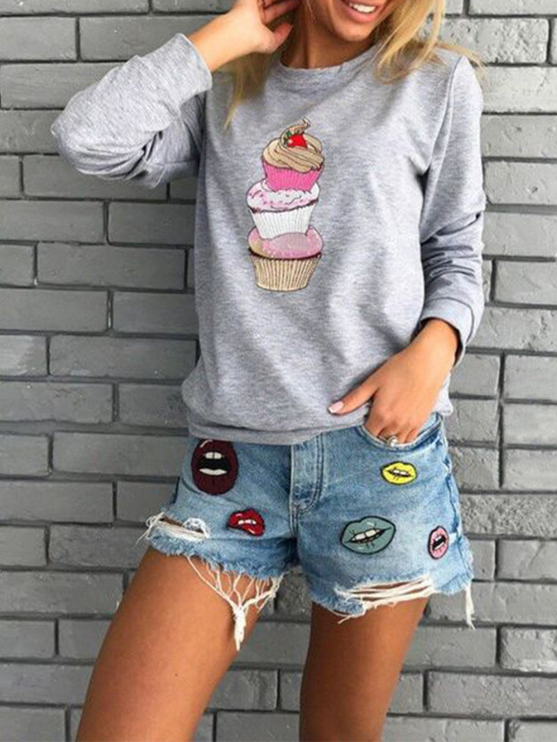 Casual Ice-Cream Print Long-Sleeve Round Neck Sweatshirt