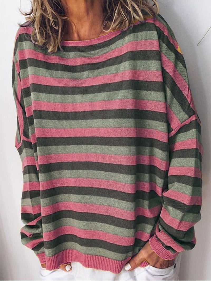 Rainbow Stripe Print Long-Sleeved Loose Autumn Knit Blouse