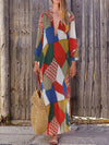 Plus Size Geometric Print Color Block Long-Sleeved V Neck Maxi Dress