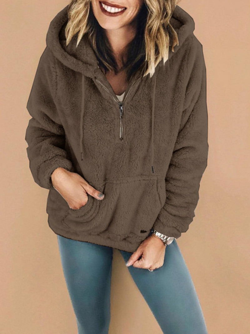 Plus Size Hooded Solid Long-Sleeved Fluffy Blouse